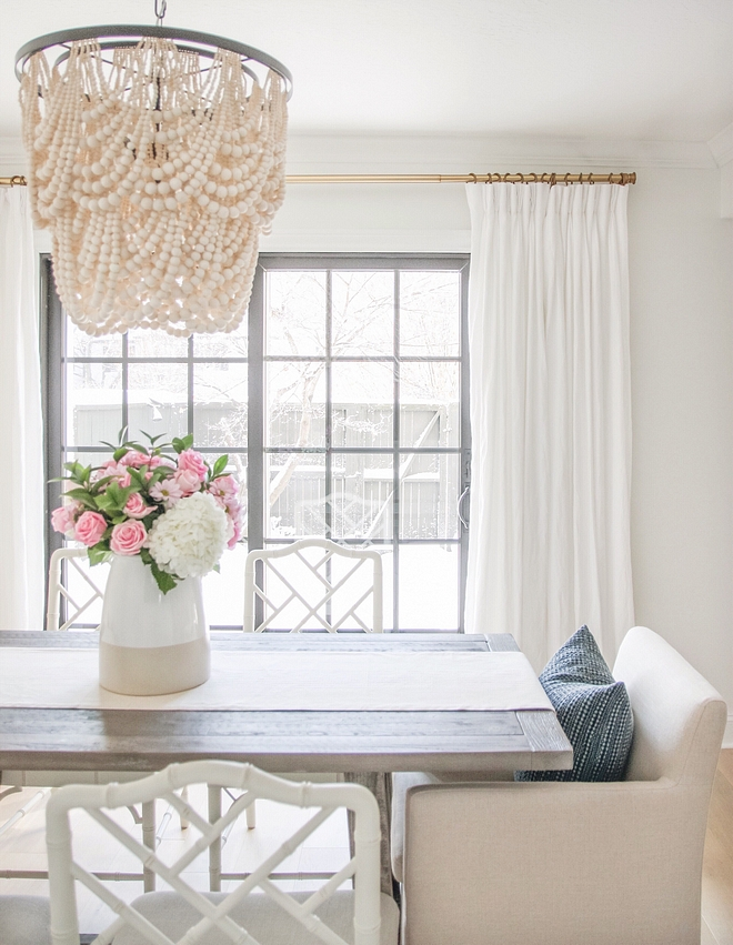Neutral Dining Room Neutral Dining Room Ideas Gorgeous Neutral Dining Room with Beaded Chandelier, Linen Draperies and Brass Rod #Neutral Dining Room #NeutralInteriors #NeutralDiningRoom #BeadedChandelier #LinenDraperies #BrassRod