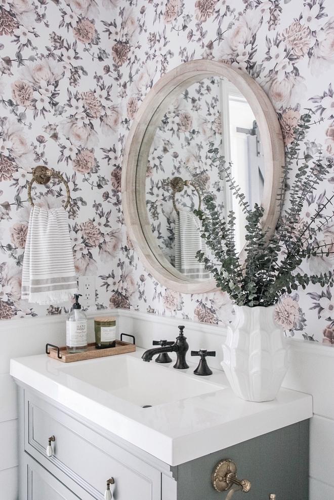 Floral Wallpaper Half bathroom Floral Wallpaper and grey vanity Floral Wallpaper Ideas #FloralWallpaper #bathroom #halfbathroom