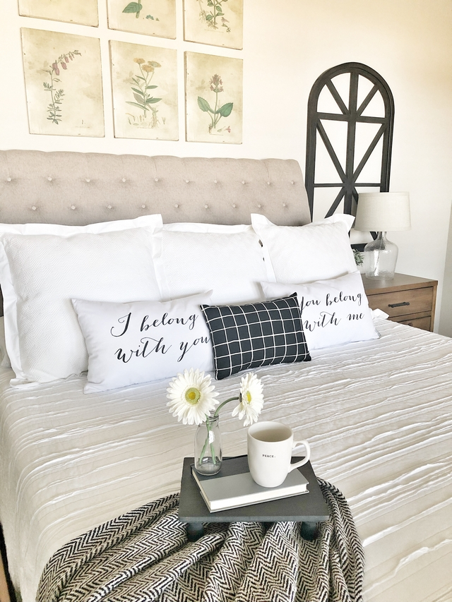 The bed set is from the Magnolia Home line at Nebraska Furniture Mart. The bedding and lamps are from Target