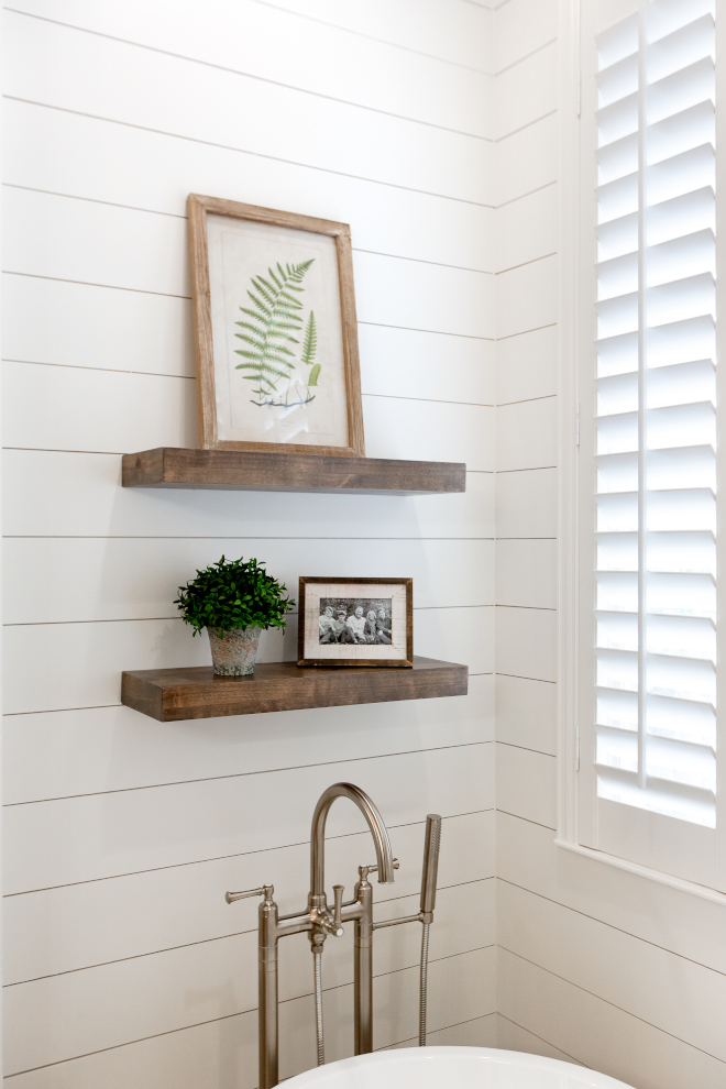 Bathroom Floating Shelves Wood floating shelves are made from knotty alder A close up of the custom shelves and some of the accessories. I love using ferns, both live and in artwor Wood floating shelves are made from knotty alder #Woodfloatingshelves #floatingshelves