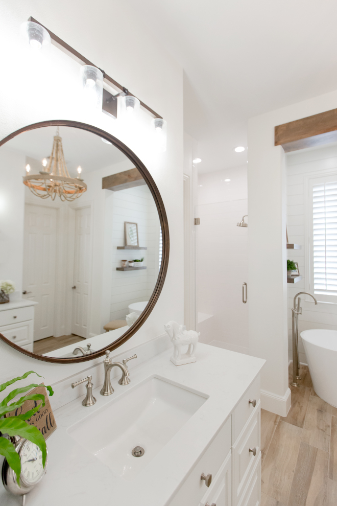 Round Bathroom Mirror Vanity cabinets- Custom made from paint grade maple, with raised panel drawer and door fronts The new vanities are taller and the new design with large drawers provide much more storage than original #bathroom #RoundMirro #BathroomMirror #Vanity #cabinets #Custommadecabinet #paintgrade #maple