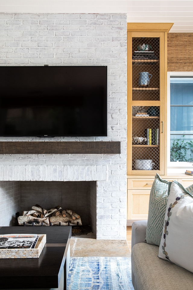 Limewashed brick fireplace The fireplace features limewashed brick and a dark stained beam as mantel Limewashed brick fireplace Limewashed brick fireplace Limewashed brick fireplace #Limewashedbrickfireplace #brickfireplace