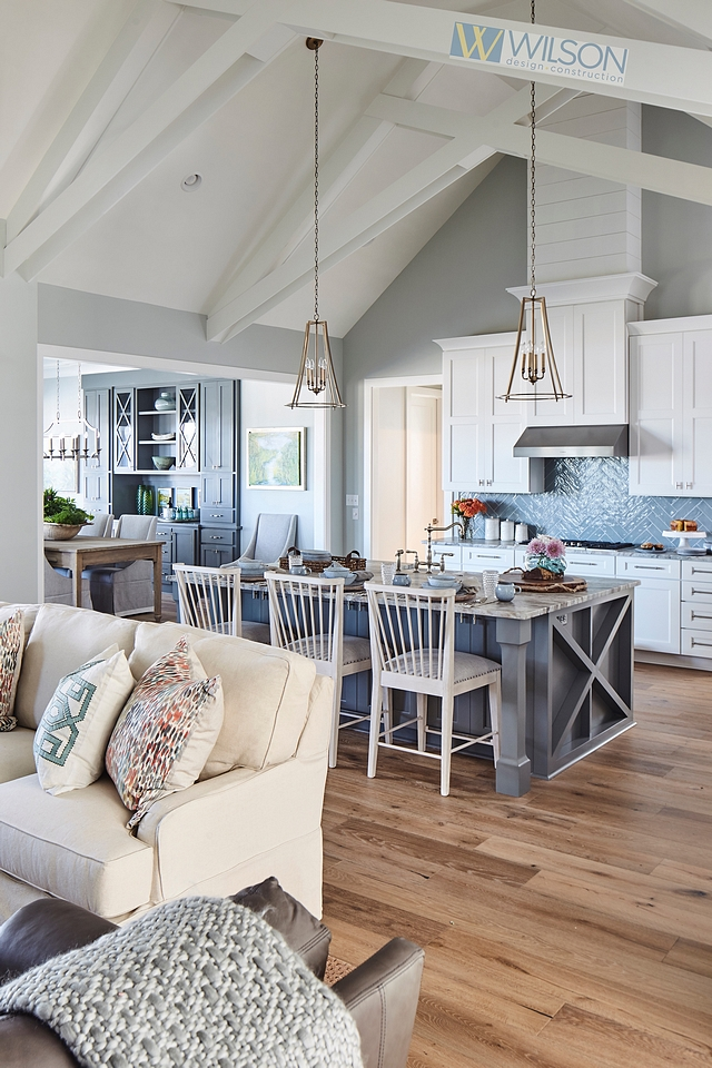 Silver Strand by Sherwin Williams This grey paint color looks great with white vaulted ceiling Silver Strand by Sherwin Williams Silver Strand by Sherwin Williams Silver Strand by Sherwin Williams #SilverStrandbySherwinWilliams