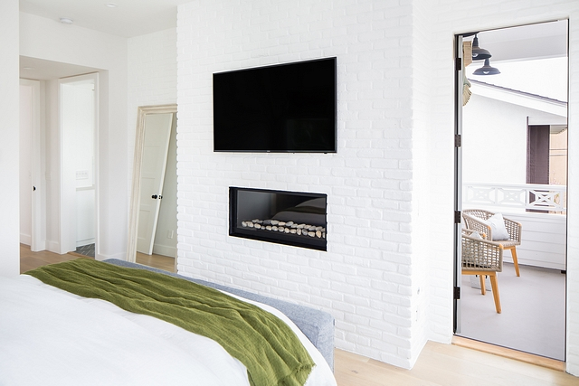 Painted Brick Fireplace bedroom with white Painted Brick Fireplace #PaintedBrick #Fireplace