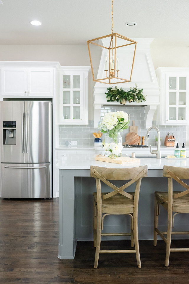 White and grey kitchen Kitchen with white perimeter cabinets, grey backsplash tile and grey isladn White and grey kitchen White and grey kitchen White and grey kitchen White and grey kitchen #Whiteandgreykitchen