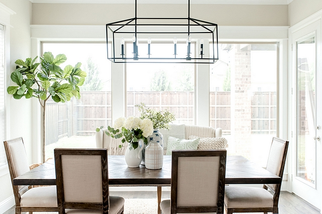 Dining room window Windows: Our original floor plan had smaller windows in the dinning room but we wanted more natural light coming through. We updated the windows to ceiling to floor windows #diningroom #windows