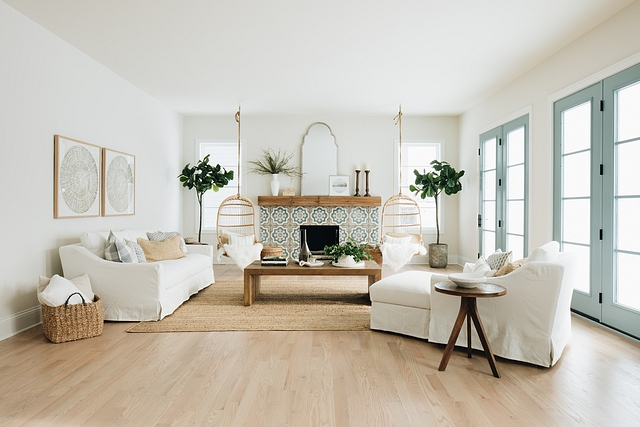 Family Room Inspiration The tile of the fireplace was the color inspiration for the whole house Tile is often the first decision about color I make so it's usually the jumping off point #FamilyRoom #RoomInspiration