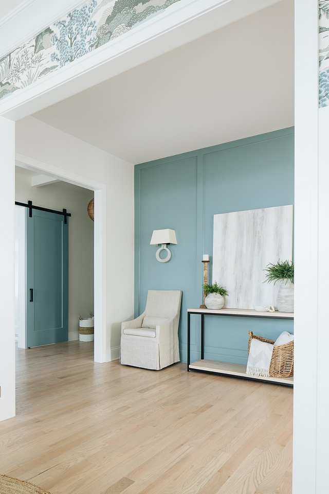 Paneled accent wall Paneled accent wall paint color ideas BM James River Gray Paneling accent walls Paneled accent wall #Paneleding #accentwall #BMJamesRiverGray