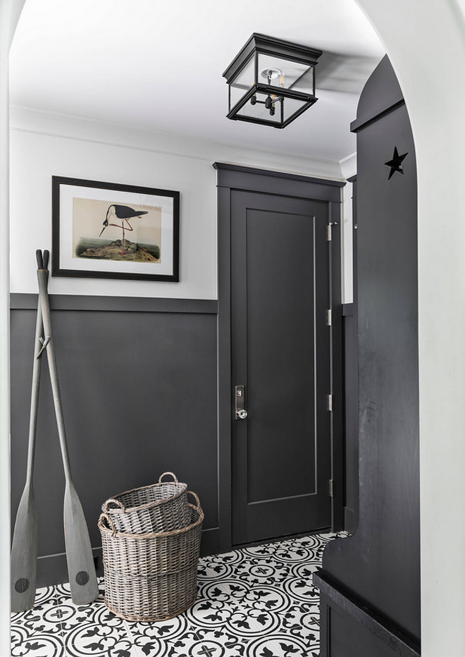 Sherwin Williams SW 7674 Peppercorn Sherwin Williams SW 7674 Peppercorn Mudroom with charcoal black wainscoting and charcoal black cabinets painted in Sherwin Williams SW 7674 Peppercorn Sherwin Williams SW 7674 Peppercorn #SherwinWilliamsSW7674Peppercorn #SherwinWilliamsSW7674 #SherwinWilliamsPeppercorn #charcoalblack #paintcolor