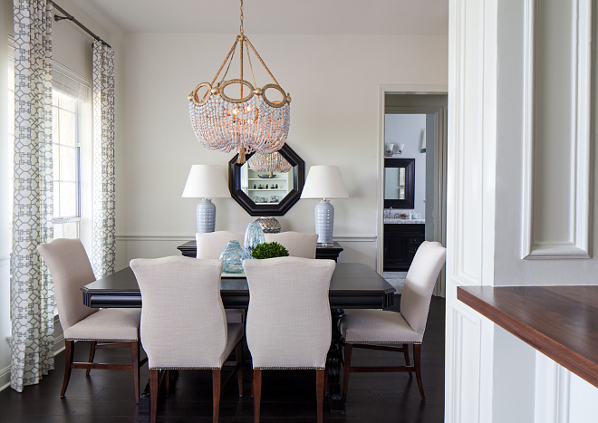 Breakfast room with beaded chandelier and a soothing color scheme #Breakfastroom #beadedchandelier #colorscheme