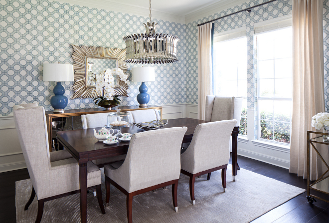 Dining room wallpaper Imperial Trellis Wallpaper in Dove/Harbor Blue above wainscot Phillip Jeffries Imperial Gates Dining room with wallpaper above wainscoting #diningroom #wainscoting #wallpaper #PhillipJeffries #ImperialGates
