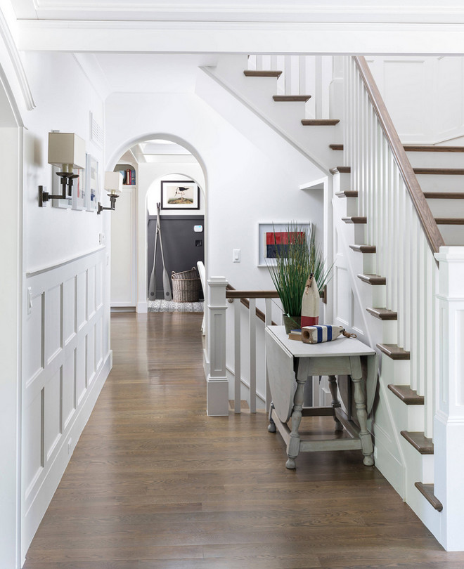 Entry with wainscoting and arched doorway Entry with wainscoting and arched doorway and Oak hardwood flooring Entry with wainscoting and arched doorway #Entry #wainscoting #archeddoorway
