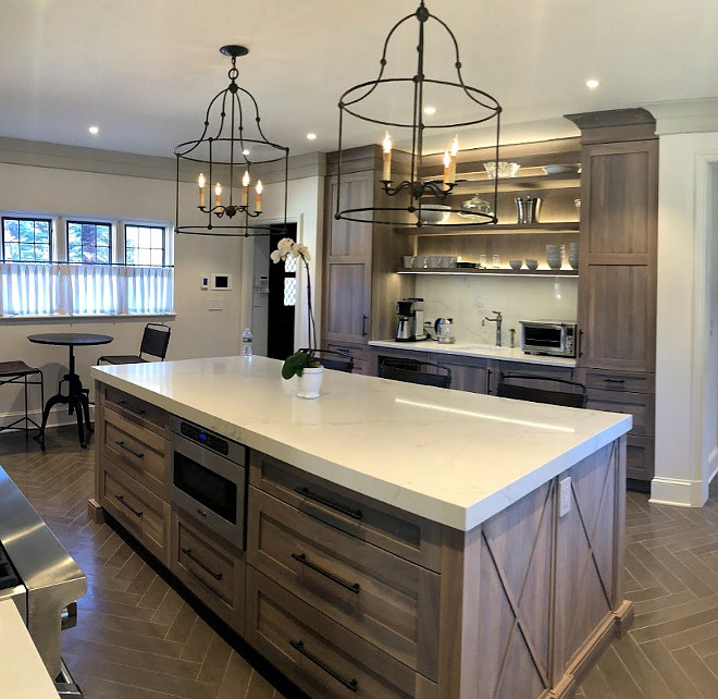 Grey finish Oak kitchen island with marble-looking quartz countertop Kitchen island Kitchen island Grey finish Oak kitchen island with marble-looking quartz countertop #kitchenisland #kitchen #GreyfinishOak #Oakkitchenisland #island #marblelookingquartz #quartzcountertop