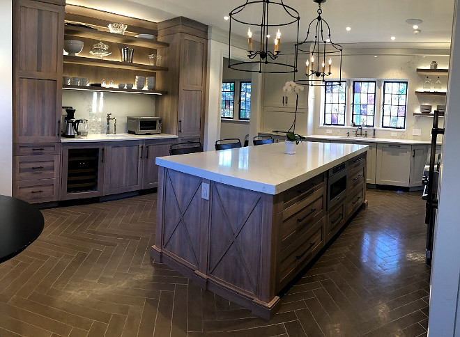 Kitchen herringbone floor tile and Grey Stained Oak Cabinetry Kitchen Design Kitchen herringbone floor tile and Grey Stained Oak Cabinetry #Kitchen #kitchendesign #herringbonefloortile #floortile #GreyStainedcabinet #OakCabinetry