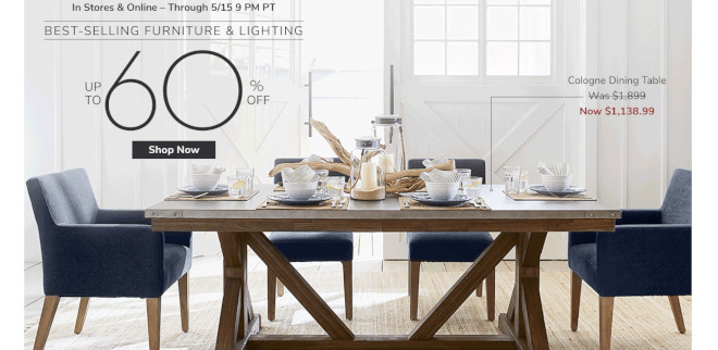 Pottery Barn Furniture Sale