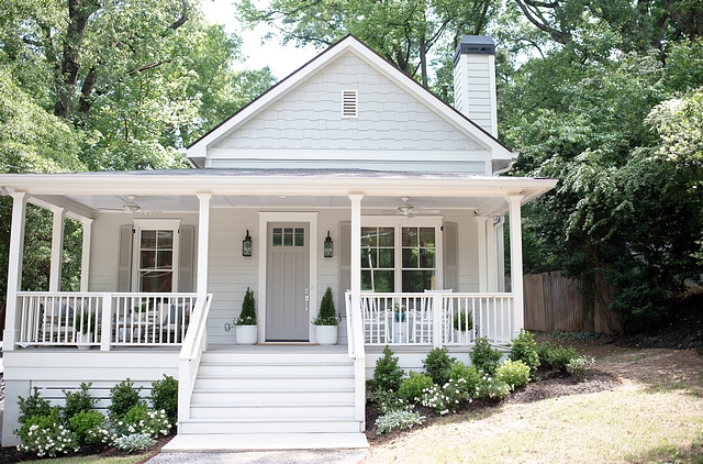 The siding is Sherwin Williams Repose Gray, with Sherwin Williams Dorian Gray on the door and shutters. Our exterior trim is Sherwin Williams Alabaster White #siding #SherwinWilliamsReposeGray #SherwinWilliamsDorianGray #door #shutters #exterior #SherwinWilliamsAlabasterWhite
