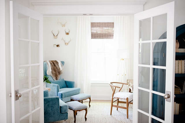 Home Office Study I selected French doors so that this little space would still be open and feel like a part our main living area #study #homeoffice #Frenchdoors