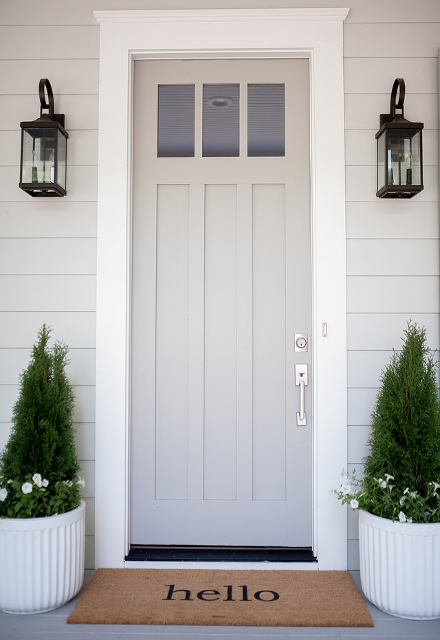 Sherwin Williams SW 7017 Dorian Gray Grey front door is painted in Sherwin Williams SW 7017 Dorian Gray Sherwin Williams SW 7017 Dorian Gray Sherwin Williams SW 7017 Dorian Gray Sherwin Williams SW 7017 Dorian Gray #SherwinWilliamsSW7017DorianGray #SherwinWilliamsDorianGray #SherwinWilliamsSW7017 #Greydoor