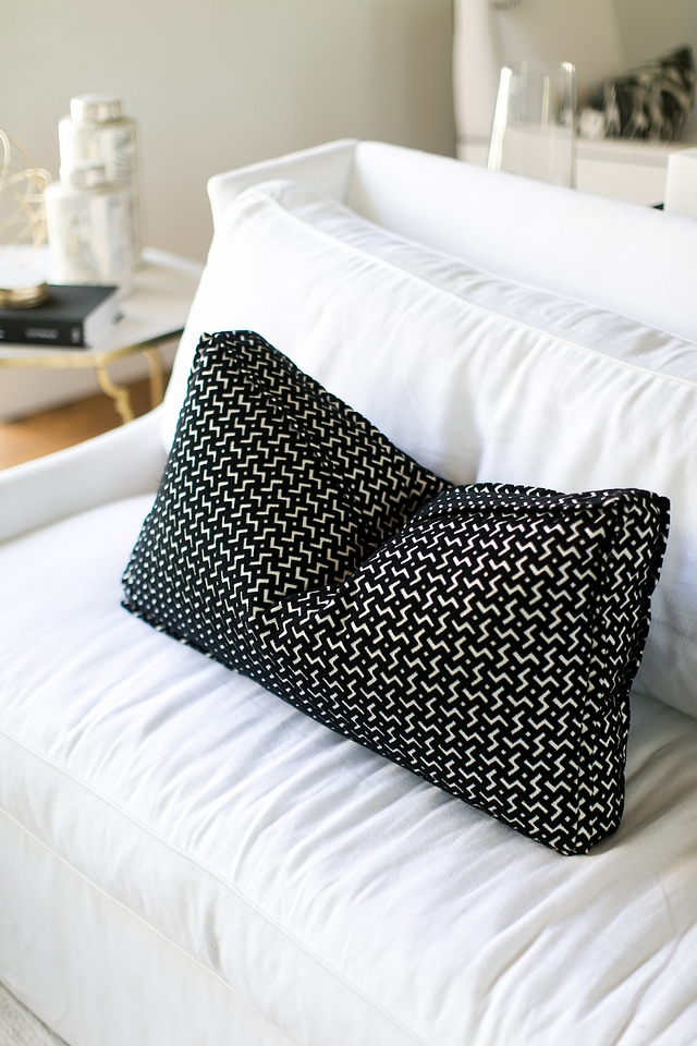 Lumbar pillows are custom with Jim Thompson Conrad 3602/02 Zebra fabric #Lumbarpillows #pillows #pillow #blackandwhite