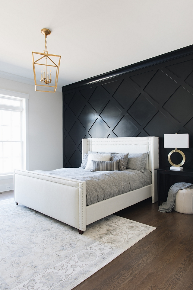 Benjamin Moore Black Black Diamond Accent Wall Paneling Painted in Benjamin Moore Black Paint Color Benjamin Moore Black Benjamin Moore Black #BenjaminMooreBlack