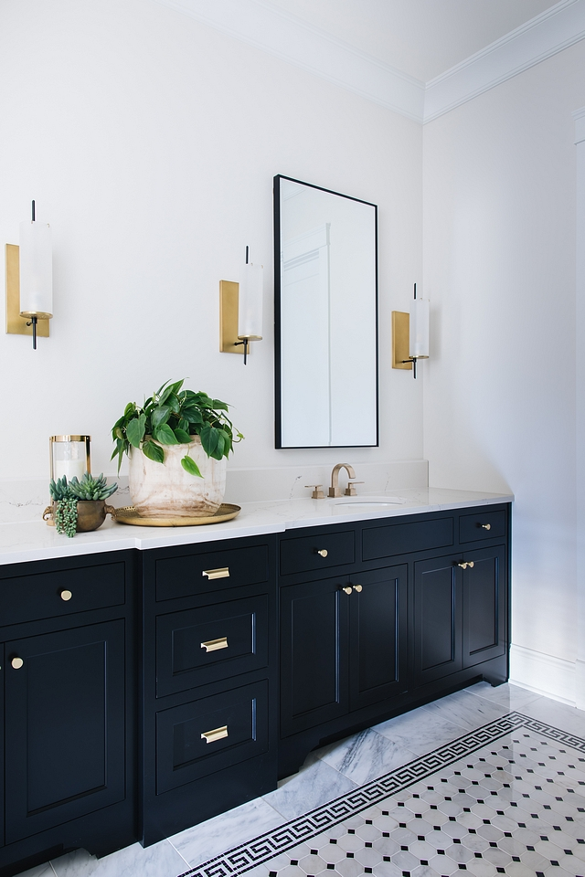 Inset Bathroom Cabinet Bathroom Cabinetry The inset bathroom cabinet is painted in Benjamin Moore Black Cabinets are custom-designed #InsetBathroomCabinet #InsetCabinet #Bathroom #InsetCabinetry
