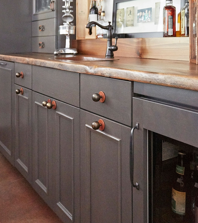 Grey cabinet The grey cabinets are Alder with flint finish and wood countertop #greycabinet #cabinet #flintcabinet #cabinetry #woodcountertop #homes #interiordesign #interiors