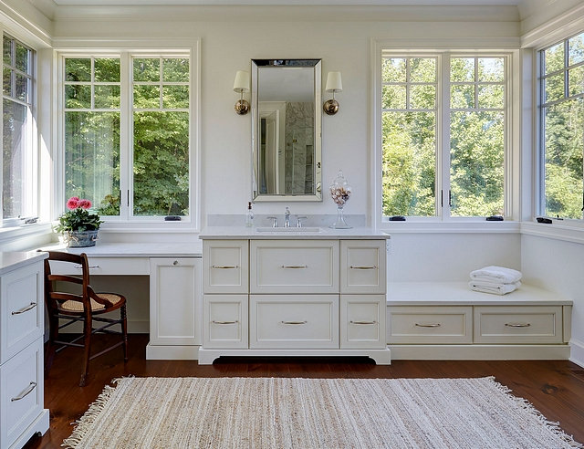 The master bathroom features beautiful cabinetry with plenty of storage #bathroom #storage #bathroomcabinetry