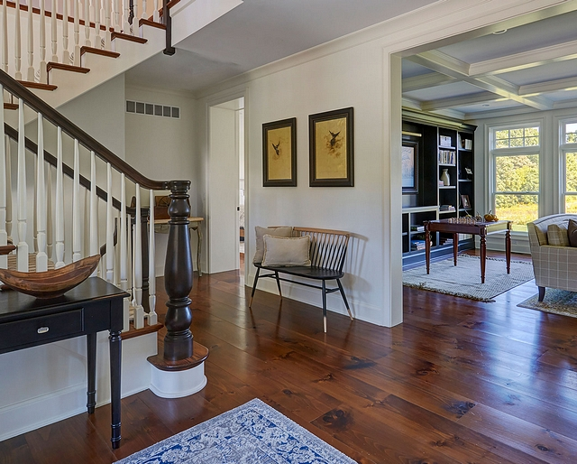 "White Pine Hardwood Flooring The front entry hall features 11"" wide white pine flooring Wide Plank White Pine Hardwood Flooring White Pine Hardwood Flooring Ideas White Pine Hardwood Flooring White Pine Hardwood Flooring #WhitePine #HardwoodFlooring #wideplank"