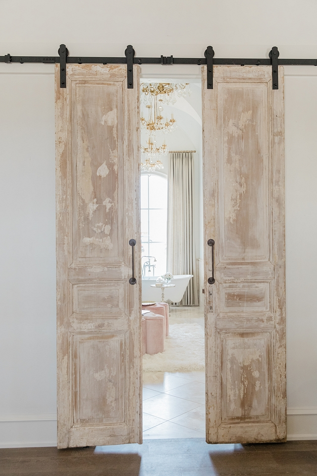 Antique Doors Antique Barn Door Antique doors, imported from France, were hung with barn door hardware to accentate the master bathroom Antique Doors Antique Barn Door Antique doors Antique Doors Antique Barn Door Antique doors Antique Doors Antique Barn Door Antique doors #AntiqueDoors #AntiqueBarnDoor #FrenchBarnDoor #Antiquedoor