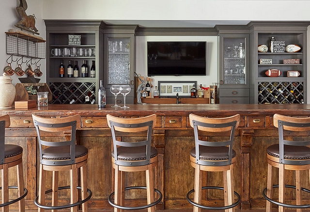 Bar with grey perimeter cabinet and Alder island Bar Large bar #Bar #Barcabinet #barisland #greycabinetry #Aldercabinet #islandBar