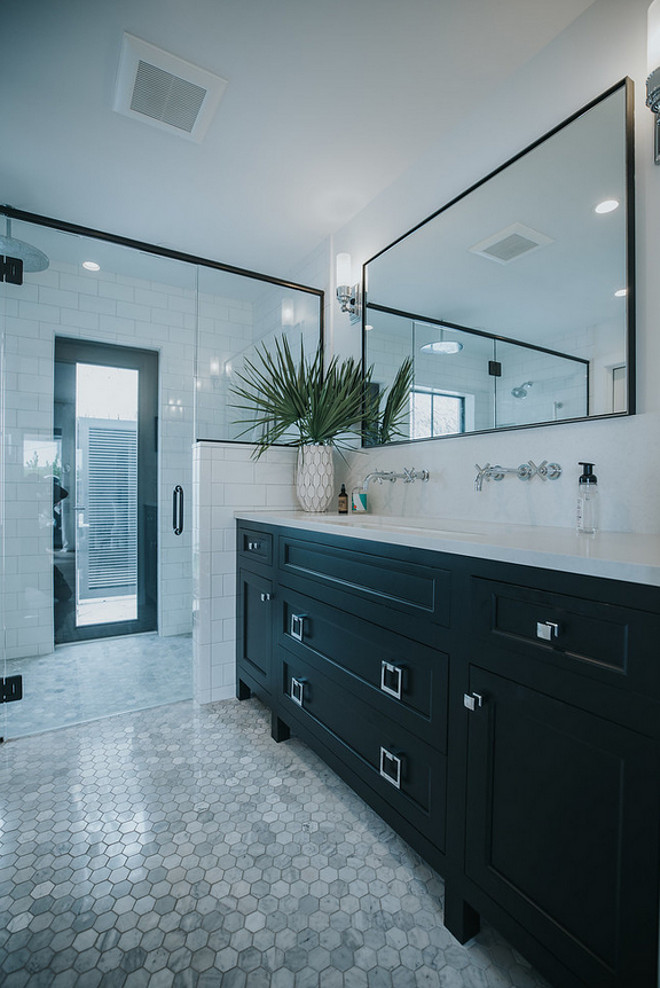 Curbless shower with access to outdoors The master bathroom features a curbless shower with a glass door that leads to a private courtyard Curbless shower Curbless shower #Curblessshower