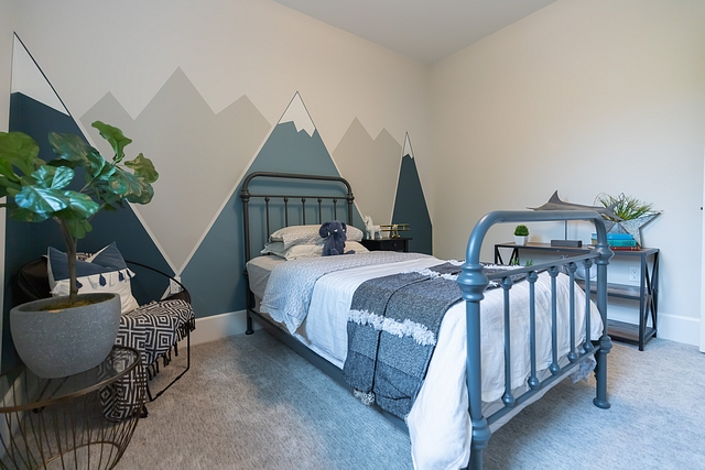 Kids Bedroom Mural I created a mountain mural wall for our 3 year old son. It took me 20 mins to tape and prep this mural plus an hour and a half to paint! Wall Colours – Benjamin Moore Newburg Green Benjamin Moore Classic Grey Sherwin Williams Repose Grey #kidsbedroommural #bedroommural