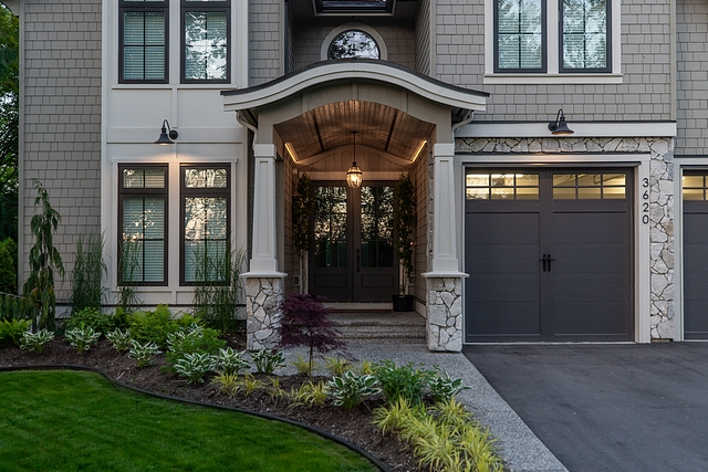 Taupe exterior with Benjamin Moore Ashwood trim Home Exterior Benjamin Moore Ashwood trim Benjamin Moore Ashwood trim #BenjaminMooreAshwood