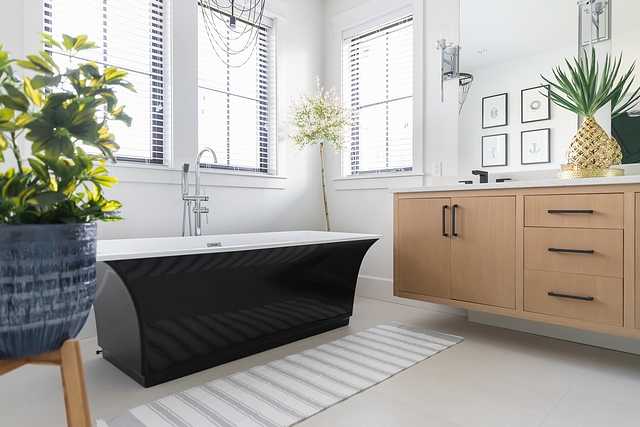 Black freestanding tub I kept our tile floors simple so that our black bathtub and vanity could be the focal points Black freestanding tub Black freestanding tub #Blackfreestandingtub