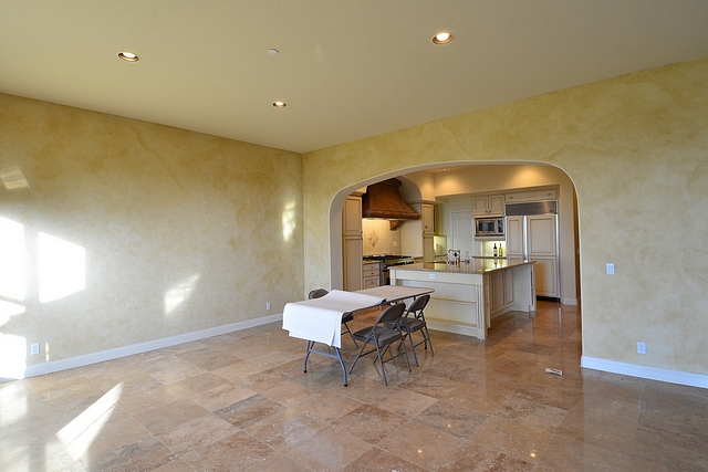 Faux plaster walls with travertine floor tile Before and After Kitchen Reno
