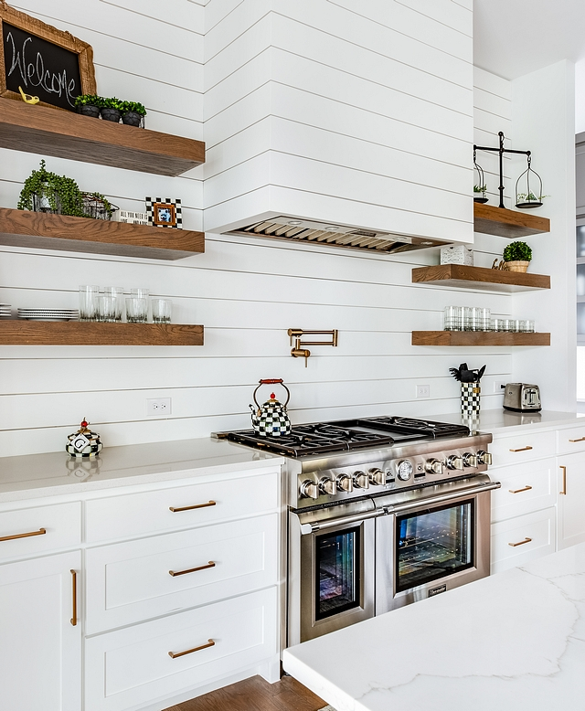 Shiplap Hood Shiplap Backsplash The kitchen hood and backsplash are clad in shiplap. Paint color is Chantilly Lace by Benjamin Moore Shiplap Hood Shiplap Backsplash Shiplap Hood Shiplap Backsplash #ShiplapHood #ShiplapBacksplash #kitchenshiplap #kitchen #shiplap