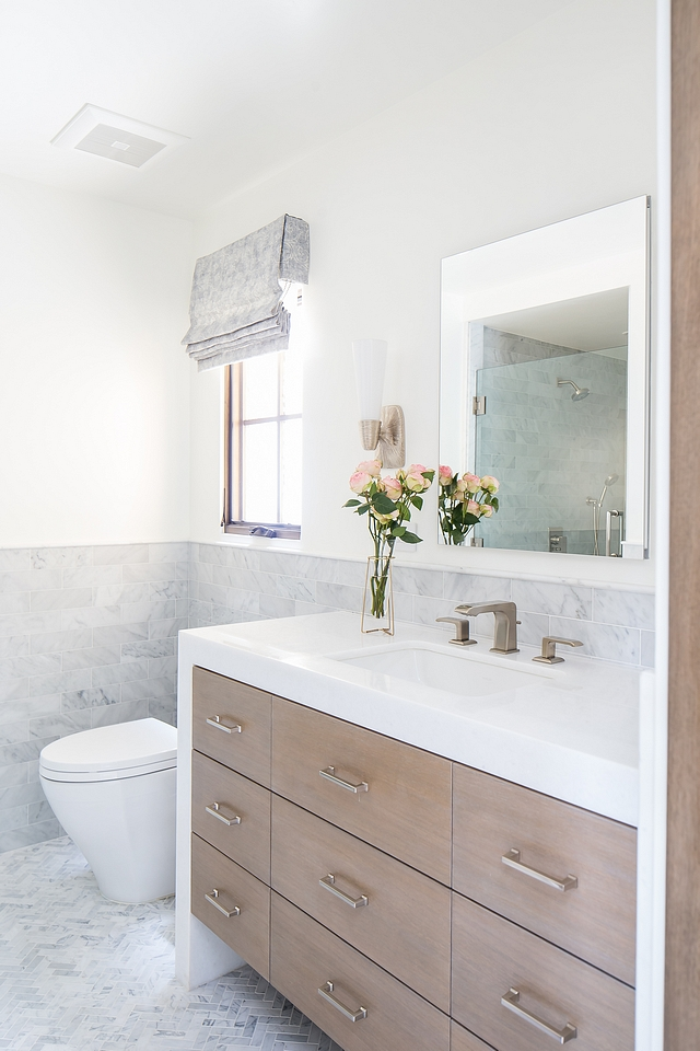 Rift+Oak+vanity+with+waterfall+edge+chunky+white+marble+countertop