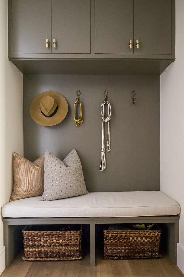 Charcoal gray cabinet Mudroom The mudroom features custom charcoal gray cabinets painted in Restoration Hardware Slate Charcoal gray cabinet Mudroom The mudroom features custom charcoal gray cabinets #Charcoalgraycabinet #Mudroom #mudroomcabinets