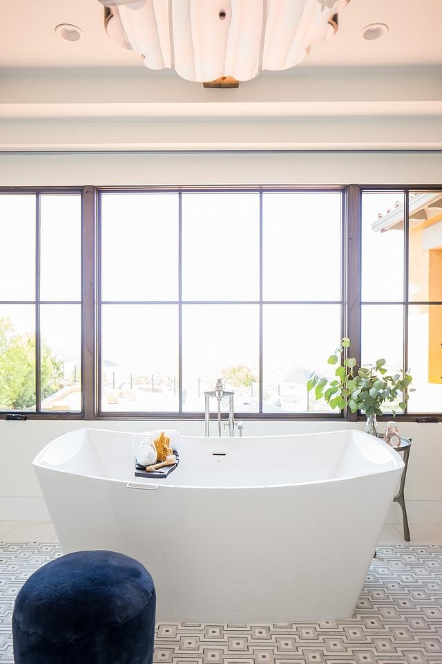 Master Bathroom with Black Steel window over a Bain Ultra freestanding tub Master Bathroom with Black Steel window Master Bathroom with Black Steel window #MasterBathroom #BlackSteelwindow #bathroom #bathroomblackwindow