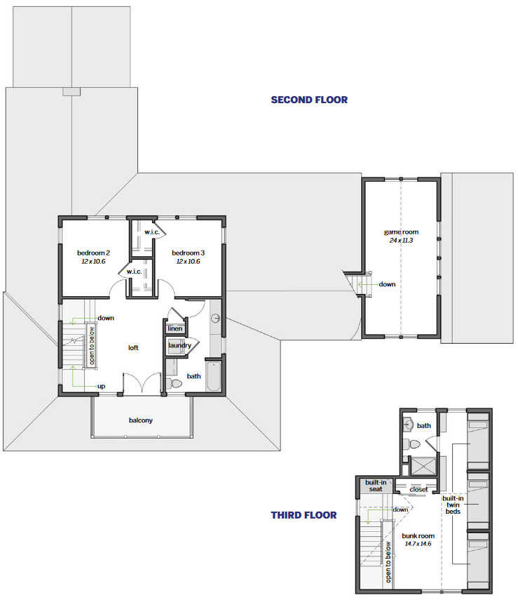 Floor Plan Second Floor with Bonus Room Over Garage