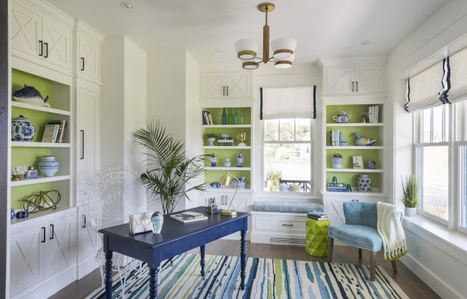 back wall of built-ins in Lime Green by Olympic Paint
