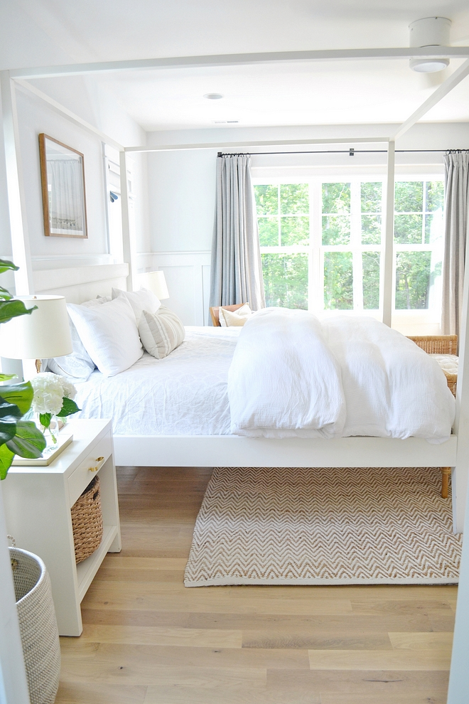 White Bedroom with white linen bedding