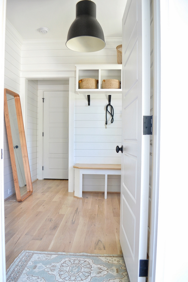 White shiplap in mudroom