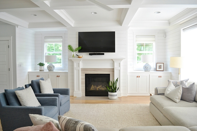 Shiplap and trim are painted in Sherwin-Williams Extra White