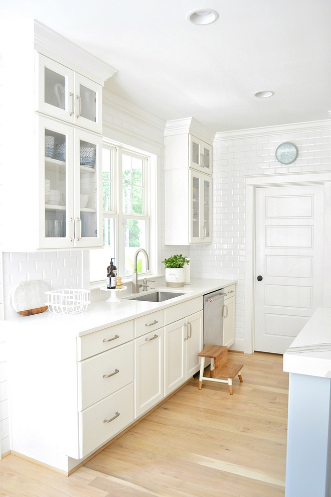 Benjamin Moore White Dove kitchen with beveled subway tile