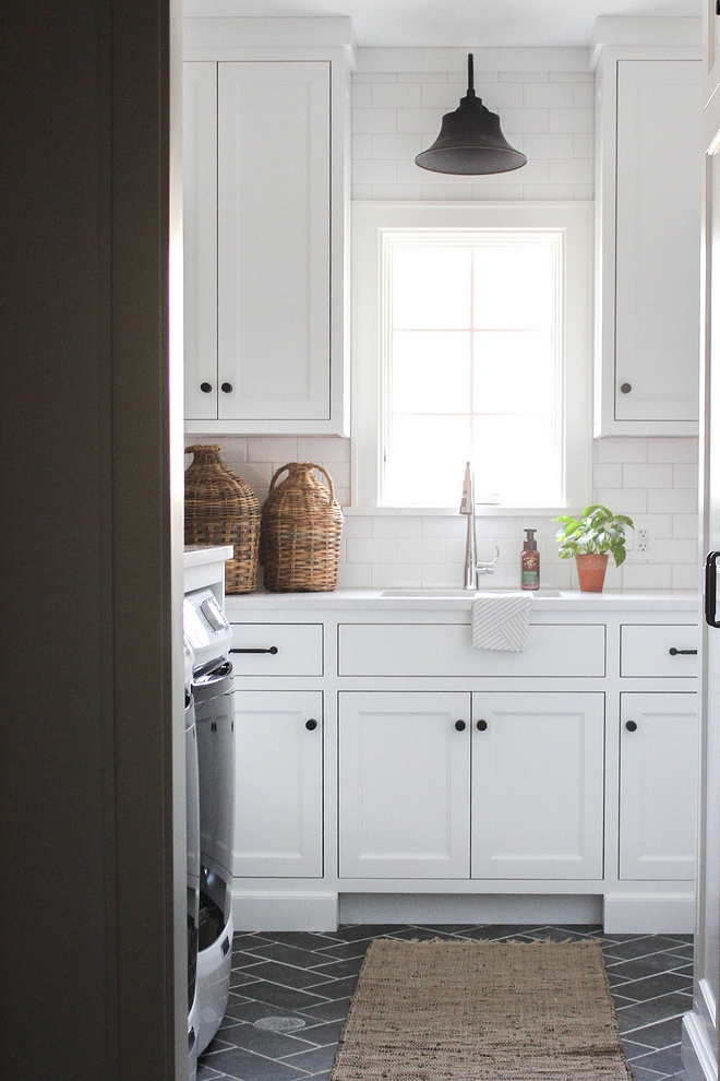 Laundry Room Cabinet Color Chantilly Lace OC-65 by Benjamin Moore