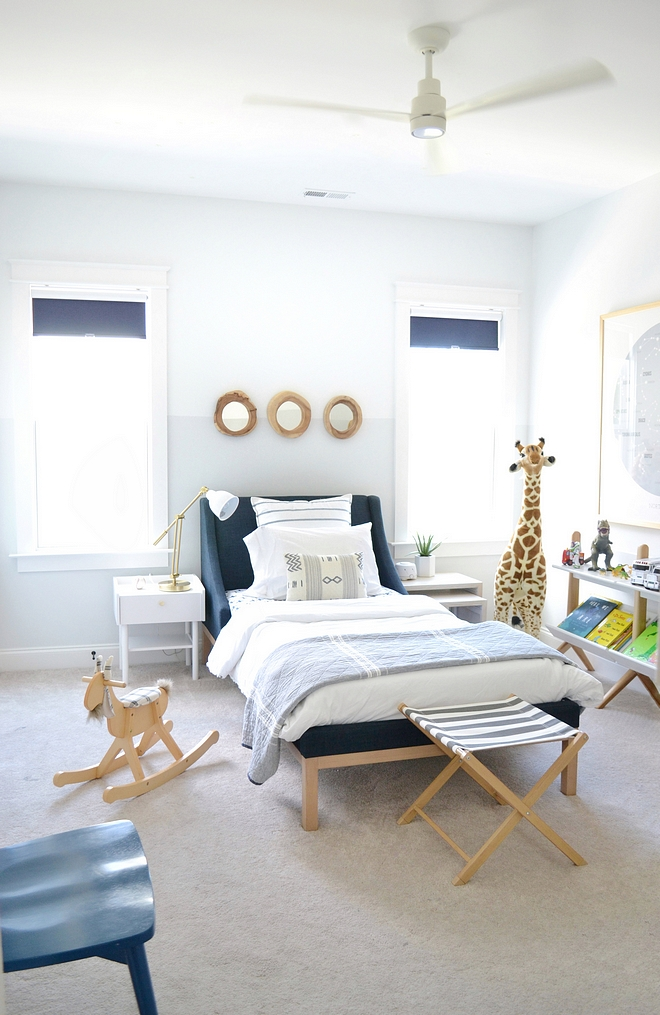 Two-toned boys bedroom paint color