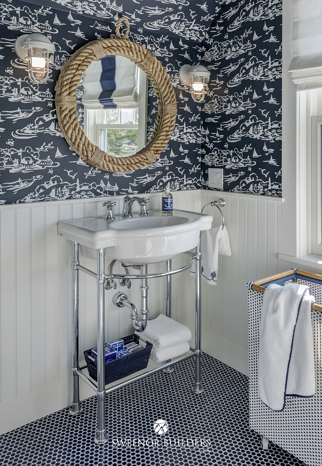 Bathroom features a nautical motif