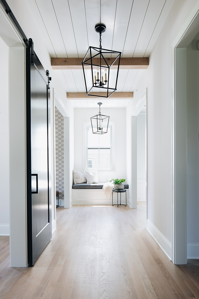 Hallway Ceiling Alder Beams and shiplap