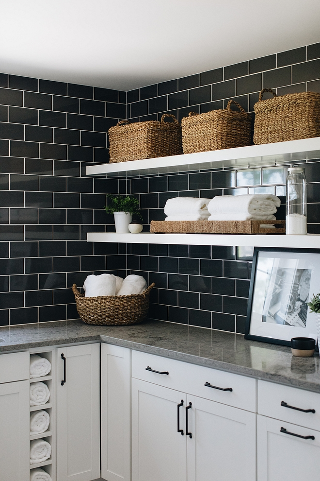 Laundry room black subway tile